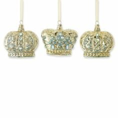 Silent Night Set of 3 Wiseman Crown Glass Christmas Ornaments