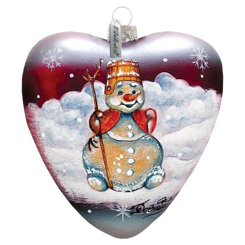 G. DeBrekht Snowman Heart Ornament 3.5″