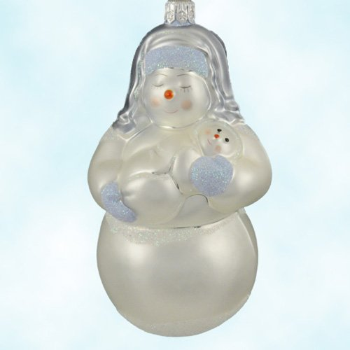 Patricia Breen Christmas Ornaments, Snow Madonna, Light Blue, Matte, 2000, 2024, Mary snowman mother holds Jesus snow baby