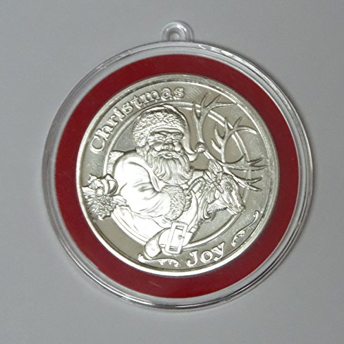 2014 – Santa Reindeer Christmas Joy Silver Round In Ornament Tree Holder Round Uncirculated