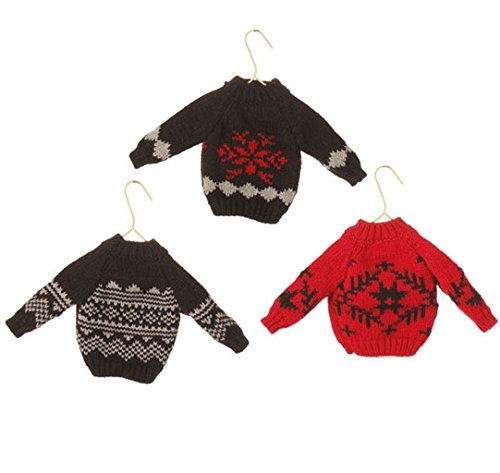 7″ Alpine Chic Super Soft Black, White and Red Snowflake Knit Sweater Christmas Ornament