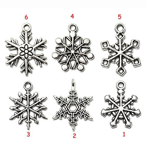 Lucksender 3pcs Mixed Christmas Charms Snowflake Pendant Tibetan Silver Home Decor