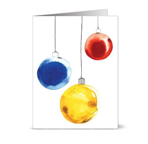 Painted Ornaments – 36 Blank Holiday Cards for $9.99 – Green Envelopes Included