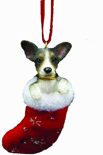 """Rat Terrier Christmas Stocking Ornament with """"Santa's Little Pals"""" Hand Painted and Stitched Detail"""