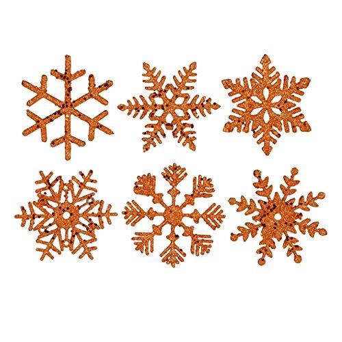 Vickerman 241004 – 5″ Burnished Orange Glitter Assorted Snowflake Christmas Tree Ornament (6 pack) (M117318)