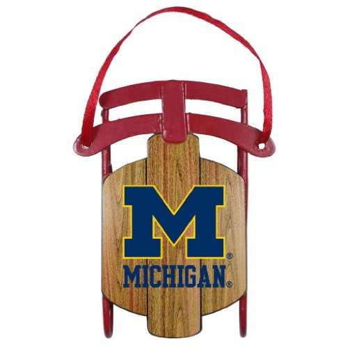 Michigan Wolverines Official NCAA Metal Sled Christmas Ornament by Topperscot 995462
