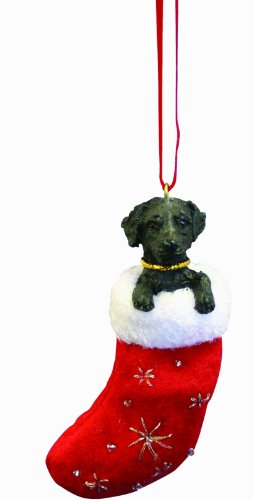 """Black Labrador Christmas Stocking Ornament with """"Santa's Little Pals"""" Hand Painted and Stitched Detail"""