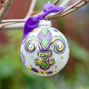 Glory Haus, Mardi Gras, New Orleans Saints, Fleur De Lis Purple Glass Ornament. Makes a Spirited Mardi Gras Gift. Comes with a Decorative Ribbon.