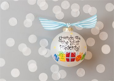 Coton Colors Painted Christmas Ornaments. The 100mm Round Glass Friends Are the Best Presents Ornament Is Designed with Colorful Presents, a Dot Pattern and Features Artistic Writing.