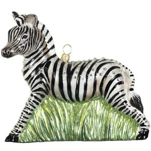 Jay Strongwater Zebra Glass Ornament
