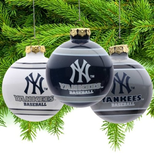 New York Yankees Official MLB 3′ Glass Ball Christmas Ornament 3 Pack by Forever Collectibles