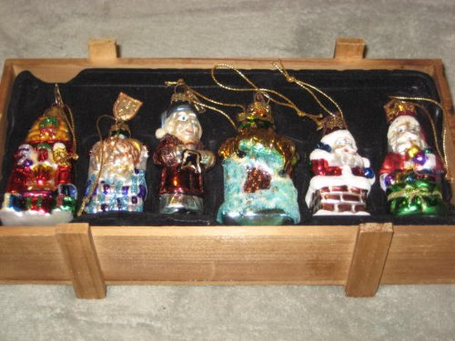 6 PIECE SET – 2004 THOMAS PACCONI BLOWN GLASS ORNAMENTS – THE NIGHT BEFORE CHRISTMAS