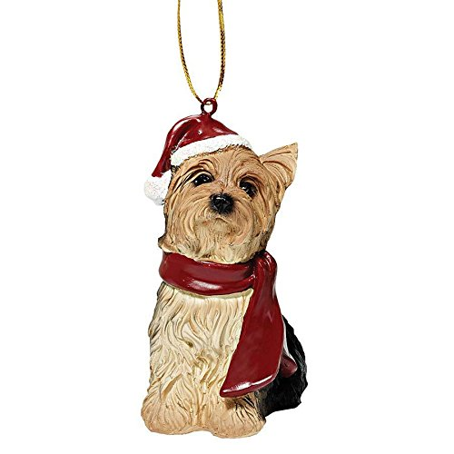 Design Toscano JH576319 Yorkie Holiday Dog Ornament Sculpture, Full Color