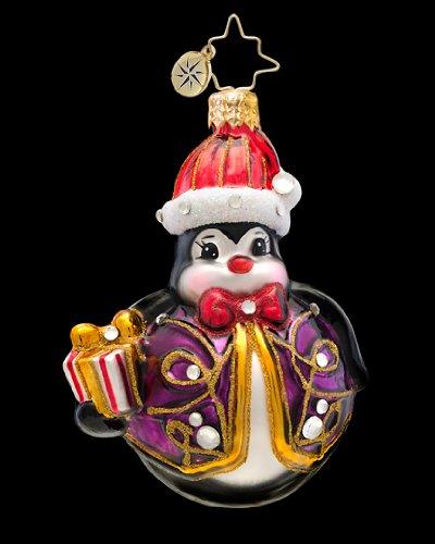 Christopher Radko Glass Penny Go Round Penguin Christmas Ornament #1017235