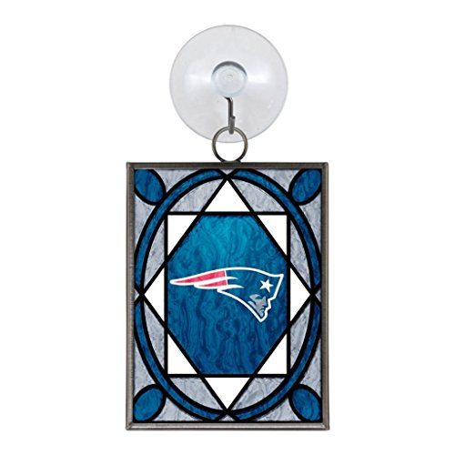 New England Patriots Official NFL 2 inch x 3 inch Stained Glass Christmas Ornament