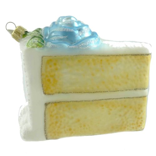 Holiday Ornament BIRTHDAY CAKE-BLUE 80050 Pastry Sweet Icing Rose New