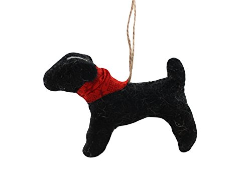 Cody Foster Feastive Felt Dog Shaped Ornament – Black Dog with Red Bandana Collar