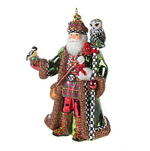 MacKenzie-Childs Cortly Check Bird Watching Santa Ornament