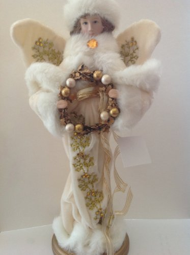 12″ tall Christmas Angel with Gold Wreath Figurine Doll on wooden base by Santa's Workshop