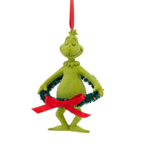 Department 56 Grinch with Sisal Wreath Ornament, 4.25-Inch