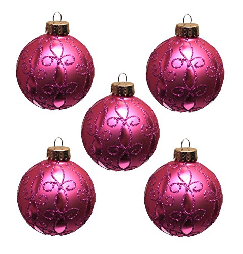 Holiday Lane Pink Swirl Design 5-Piece Glass Christmas Ornament Set
