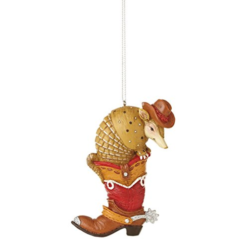 Western Armadillo in Boot Resin Christmas Tree Ornament