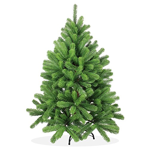 Artificial Christmas tree 4ft in Premium quality, Douglas fir, perfect PE injection-molded tips and needles, hinged (fold-open system), 387 branches/tips, in green color, incl. metal stand, hard to inflame, without ornaments, no pre-lit, X-Mas / Xmas