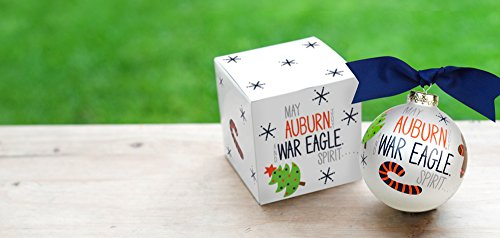 Coton Colors Auburn Alabama JOY & Spirit Ornament (AU). Featuring Iconic Images of Christmas in Auburn Team Colors, Let This Ornament Fill Holidays with Much Joy & Spirit. Perfect for Festive Fans of All Ages Who Love Celebrating College Colors During the Holidays or Every Day.