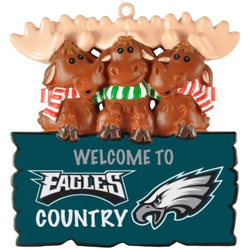 """NFL Philadelphia Eagles""""Welcome to Eagles Country"""" Hanging Moose Ornament (Appx 3.5″)"""