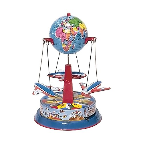 Alexander Taron German Collectible Tin Toy – Carousel with Planes – 8″H x 6″W x 6″D