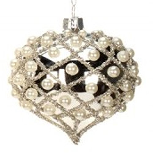 Silver w Pearl Harlequin Glass Christmas Ornament by Mark Roberts