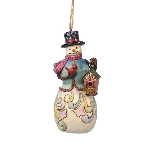 Jim Shore Department Store Series Holiday Ornament – Snowman with Bird House