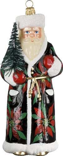 Ino Schaller Blown Glass Polish Russian Poinsettia Santa Ornament by Joy to the World Collectibles