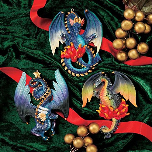 Design Toscano CL92108 Three Dragons of Talbooth Sculptural Holiday Ornament (Set of 2)