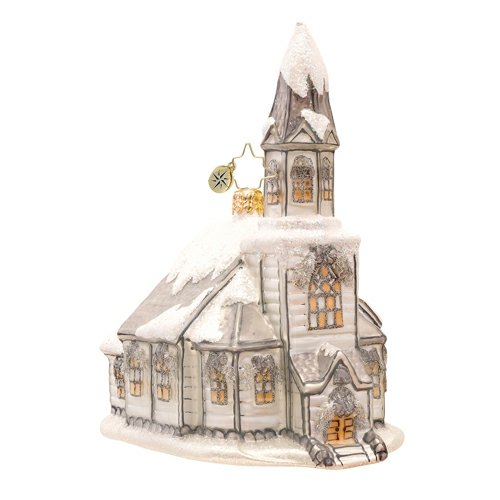 Christopher Radko Glass Heavenly Winter Cathedral Church Christmas Ornament #1017196
