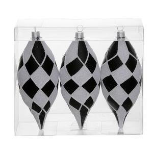 Vickerman 34481 – 4.7″ Black / White Diamond Matte Glitter Drop Christmas Tree Ornament (3 pack) (N143677)