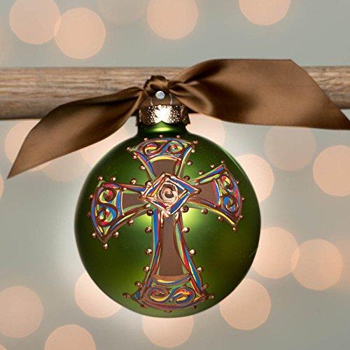 Green Bold Cross Glass Ball Ornament