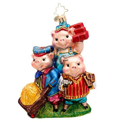 Christopher Radko Piggly Constructors Pig Glass Christmas Ornament 2014