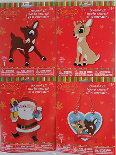 4 Christmas Ornament Felt Craft Kits – Rudolph The Red Nosed Reindeer, Clarice, Santa Clause – Bundle of 4 kits