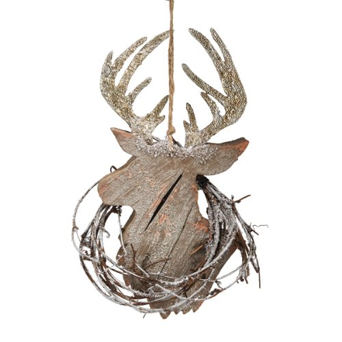 Department 56 Winter's Lodge Deer Head Ornament, 10-Inch