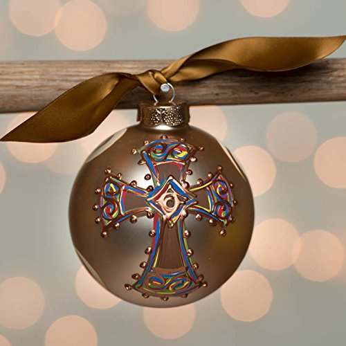 Champagne Bold Cross Glass Ball Ornament