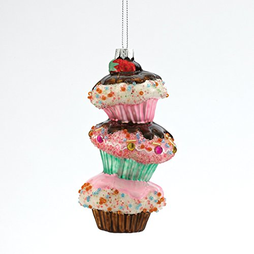 5.5″ Glass Painted Stacked Cupcake Hanging Ornament