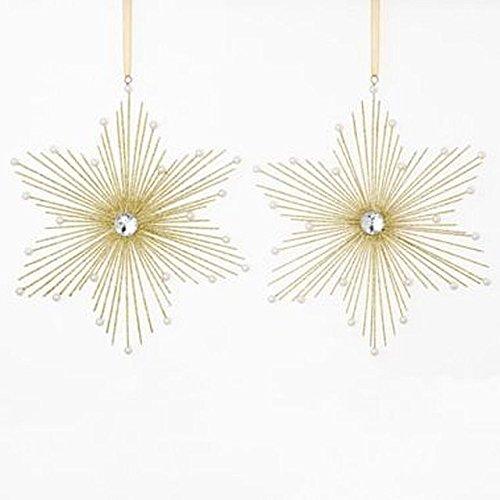 MarthaHolidayTM Silent Night Set of 2 Gold Glitter Star Christmas Ornaments