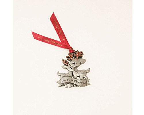 Our First Christmas Pewter Reindeer Ornament