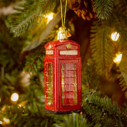 Kurt Adler 4-Inch Noble Gems Glass British Phone Booth Ornament