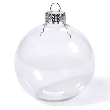 66mm Clear Glass Ball Ornaments – box of 9