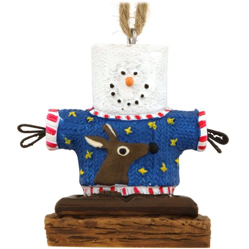 Christmas Ornament- S'mores Man Wearing Ugly Sweater With Reindeer