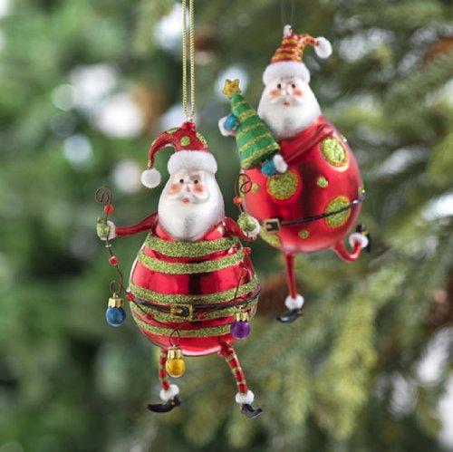 RAZ Imports – Red & Green Santa Claus Glass Ornaments 5.5″