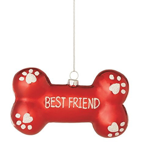 """Best Friend"" Red Dog Bone Shaped Christmas Ornament"