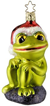 Inge-Glas Merry Ribbit Frog Christmas Ornament